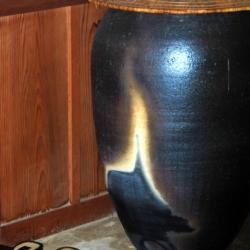 Raku Large Vase with Cap, Ann Grasso Fine Art